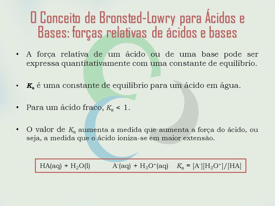 HA(aq) + H2O(l) A-(aq) + H3O+(aq) Ka = [A-][H3O+]/[HA]
